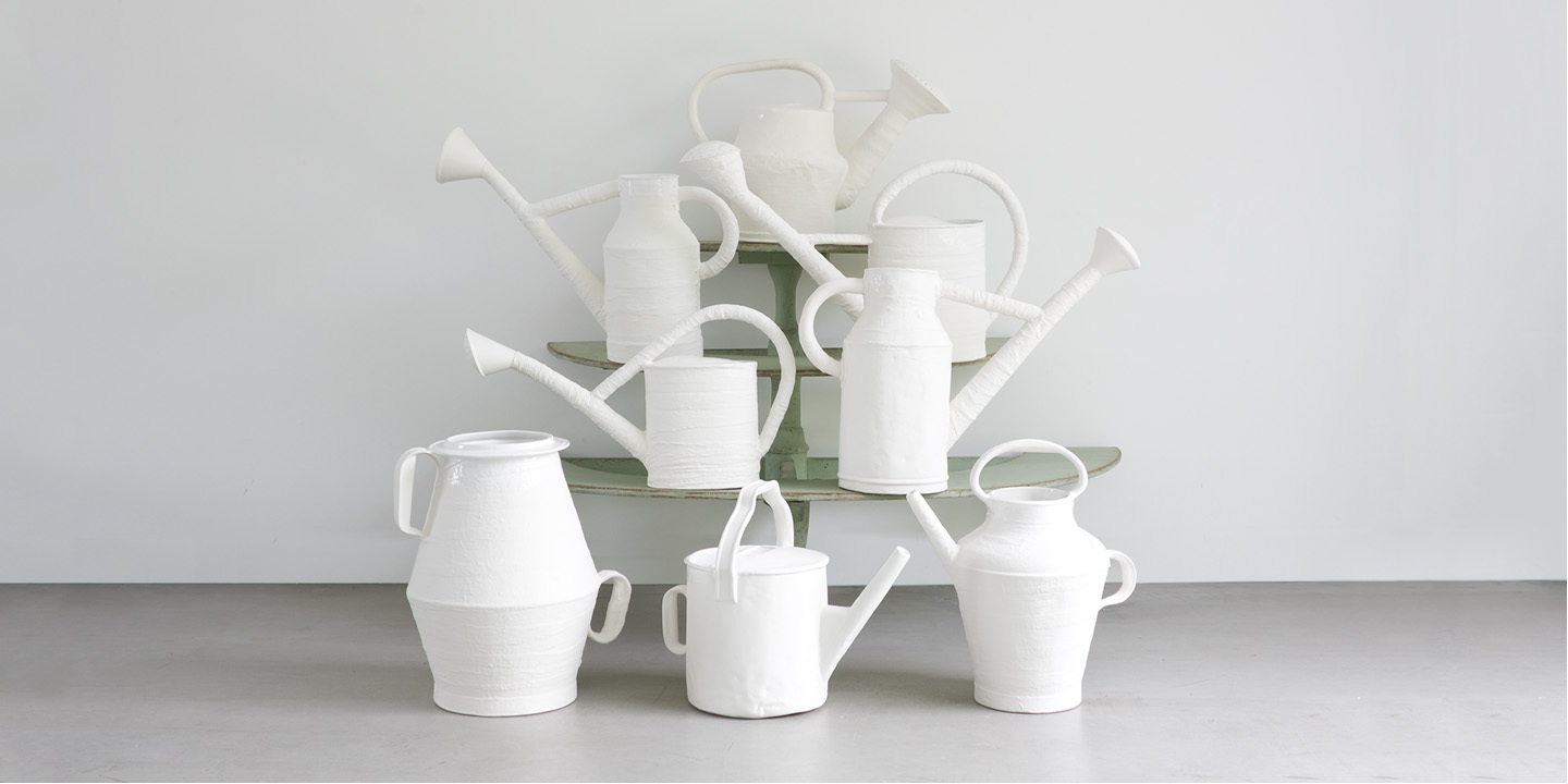 Image: The eight designs that make up the collection of ceramic watering cans by Paola Navone for LANDO